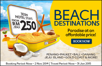 Beach Destinations: Paradise At An Affordable Price! 3D2N Hotel Stays from RM 250 /pax