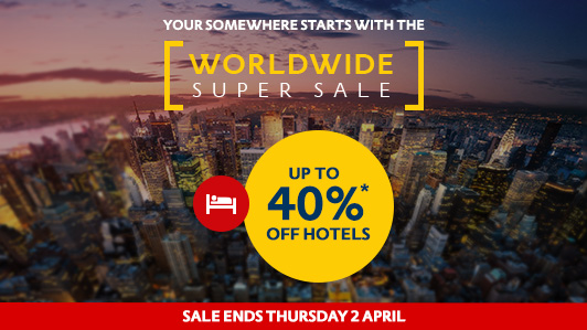 Worldwide super sale - up to 40% off  hotels in Europe, USA, Asia & more at Expedia.com.au