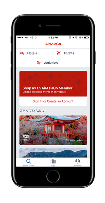 An iPhone showing AirAsiaGo app