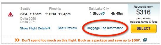 baggage fee screenshot