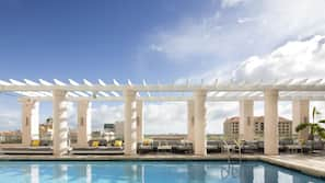 Outdoor pool, open 8:30 AM to 11:00 PM, sun loungers