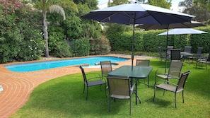Seasonal outdoor pool, open 8:30 AM to 8:30 PM, pool umbrellas