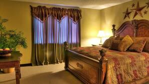 1 bedroom, premium bedding, pillowtop beds, blackout drapes