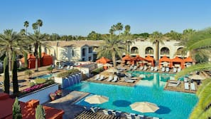 3 outdoor pools, open 5:00 AM to 10:00 PM, cabanas (surcharge)