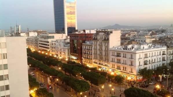 Utsikt mot staden från hotellet