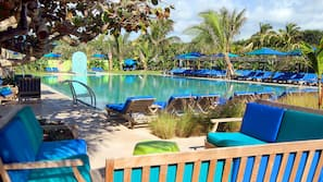 2 outdoor pools, open 7:00 AM to 9:30 PM, free cabanas, pool umbrellas
