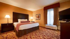 Roupas de cama antialérgicas, escrivaninha, cortinas blackout