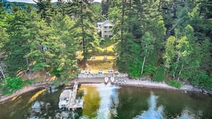 Private beach, beach towels, kayaking, motor boating