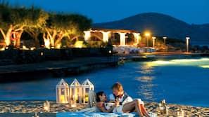 Private beach, sun-loungers, beach umbrellas, beach towels