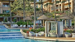3 outdoor pools, pool cabanas (surcharge), pool loungers