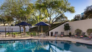 Outdoor pool, open 6:00 AM to 10:00 AM, pool umbrellas, sun loungers