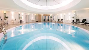 Indoor pool, open 6:30 AM to 10:00 PM, pool loungers