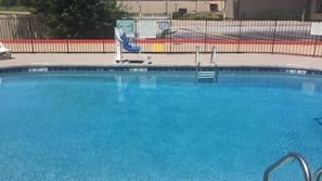Seasonal outdoor pool, open 10 AM to 10 PM, pool loungers