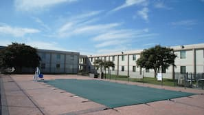 Seasonal outdoor pool, open 10 AM to 6 PM, sun loungers