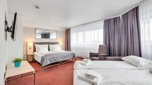 Pillow-top beds, desk, blackout curtains, cots/infant beds