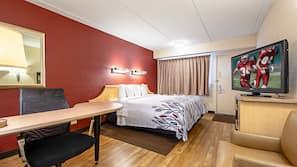 Desk, blackout curtains, free cots/infant beds, free WiFi