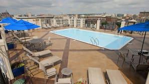 Seasonal outdoor pool, open 10:00 AM to 8:00 PM, sun loungers