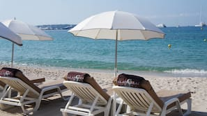 Sun loungers, beach umbrellas, beach towels