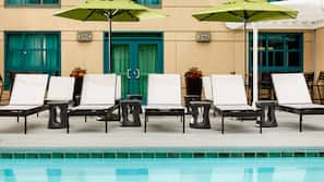 Outdoor pool, open 6:00 AM to 11:00 PM, pool umbrellas, sun loungers
