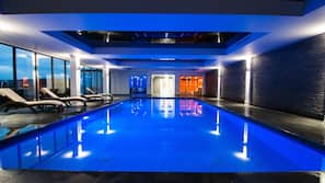 Indoor pool, outdoor pool, pool loungers