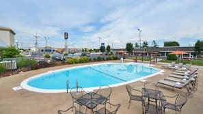 Seasonal outdoor pool, open 10:00 AM to 10:00 PM, pool umbrellas