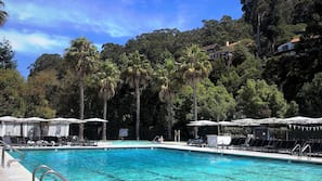 2 outdoor pools, open 6:00 AM to 7:30 PM, pool umbrellas, pool loungers