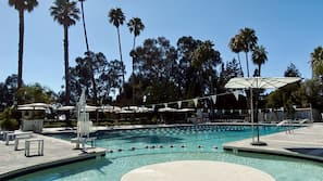 2 outdoor pools, open 6:00 AM to 7:30 PM, pool umbrellas