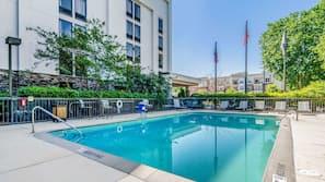 Seasonal outdoor pool, open 8 AM to 8 PM, sun loungers