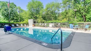 Seasonal outdoor pool, open 8 AM to 8 PM, pool loungers