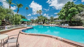 Outdoor pool, open 9:00 AM to 8:00 PM, sun loungers