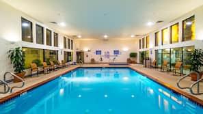 Indoor pool, outdoor pool, open 7 AM to 11 PM, pool umbrellas