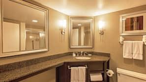 Eco-friendly toiletries, hair dryer, towels