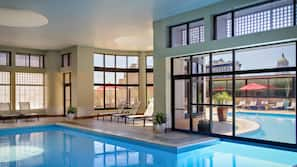 Indoor pool, outdoor pool, open 6 AM to 11 PM, sun loungers