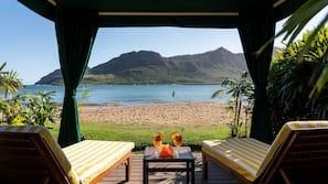 On the beach, free beach cabanas, beach volleyball