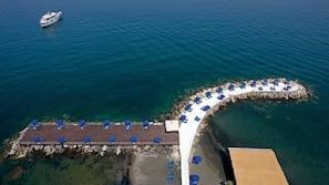 Yksityinen ranta, aurinkotuoleja, aurinkovarjoja, rantapyyhkeitä