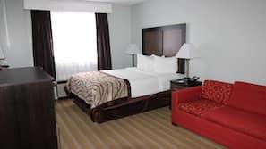 Desk, laptop workspace, free WiFi, bed sheets