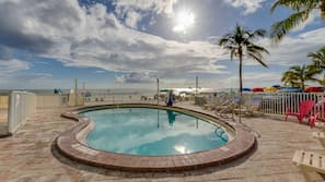 Outdoor pool, open 7:00 AM to 8:30 PM, sun loungers