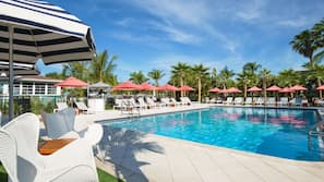 Outdoor pool, open 8:00 AM to 8:00 PM, pool umbrellas, sun loungers