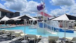 2 outdoor pools, open 6:00 AM to 11:00 PM, free cabanas, pool umbrellas