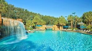 Outdoor pool, open 9:00 AM to midnight, pool umbrellas, pool loungers