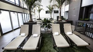 Indoor pool, open 9:00 AM to 11:00 PM, sun loungers
