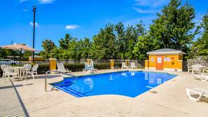 Seasonal outdoor pool, open 8 AM to 10 PM, pool umbrellas, sun loungers