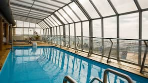 Indoor pool, open 9:30 AM to 9:30 PM, pool loungers