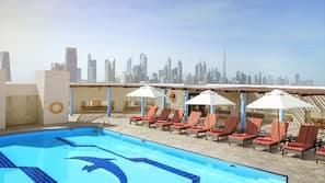 야외 수영장, 08:00 ~ 18:00 오픈, 수영장 파라솔, 일광욕 의자