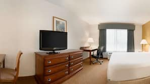 Hypo-allergenic bedding, down duvet, pillow top beds, desk