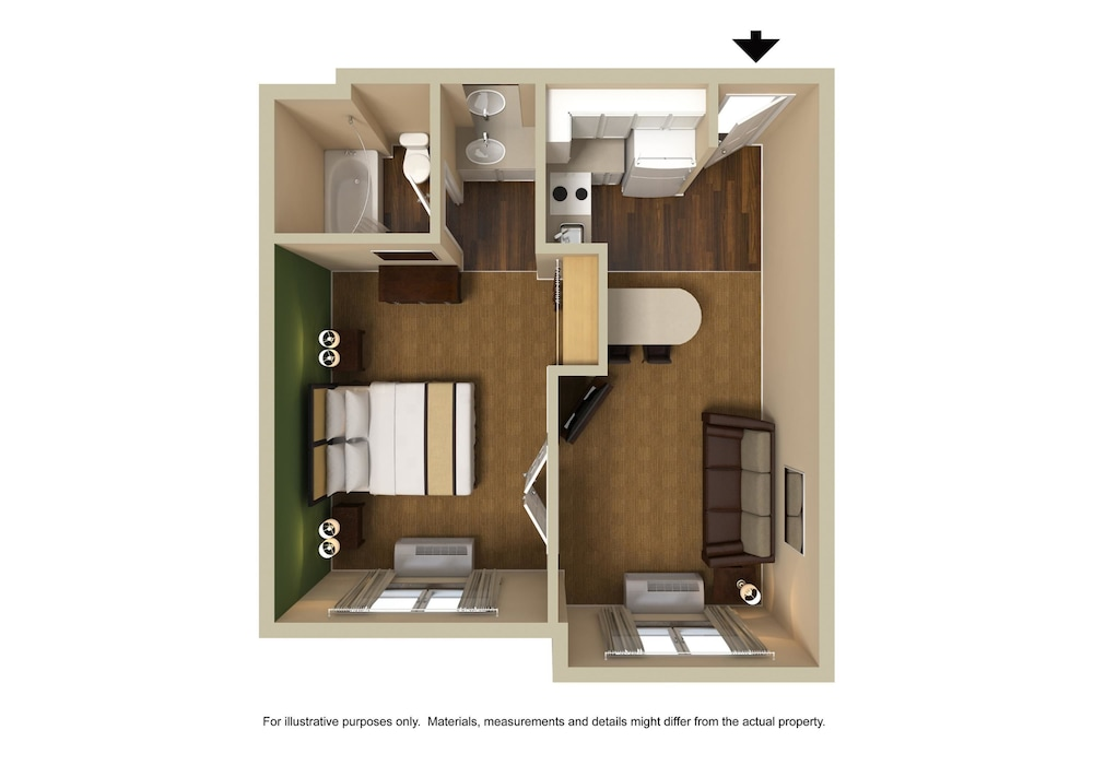 Floor plan, Extended Stay America- Kansas City - Overland Park - Metcalf