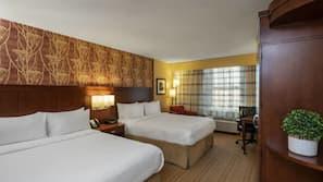 Premium bedding, pillow top beds, desk, blackout curtains