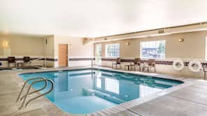 Indoor pool, open 7:30 AM to 10:00 PM, sun loungers