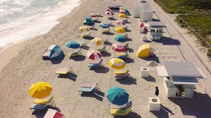 On the beach, sun-loungers, beach umbrellas, beach towels