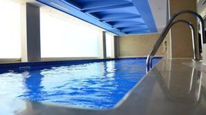 Indoor pool, pool umbrellas